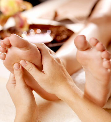 Rest your tired and sore feet with an oil massage that will leave your toes feeling silky smooth